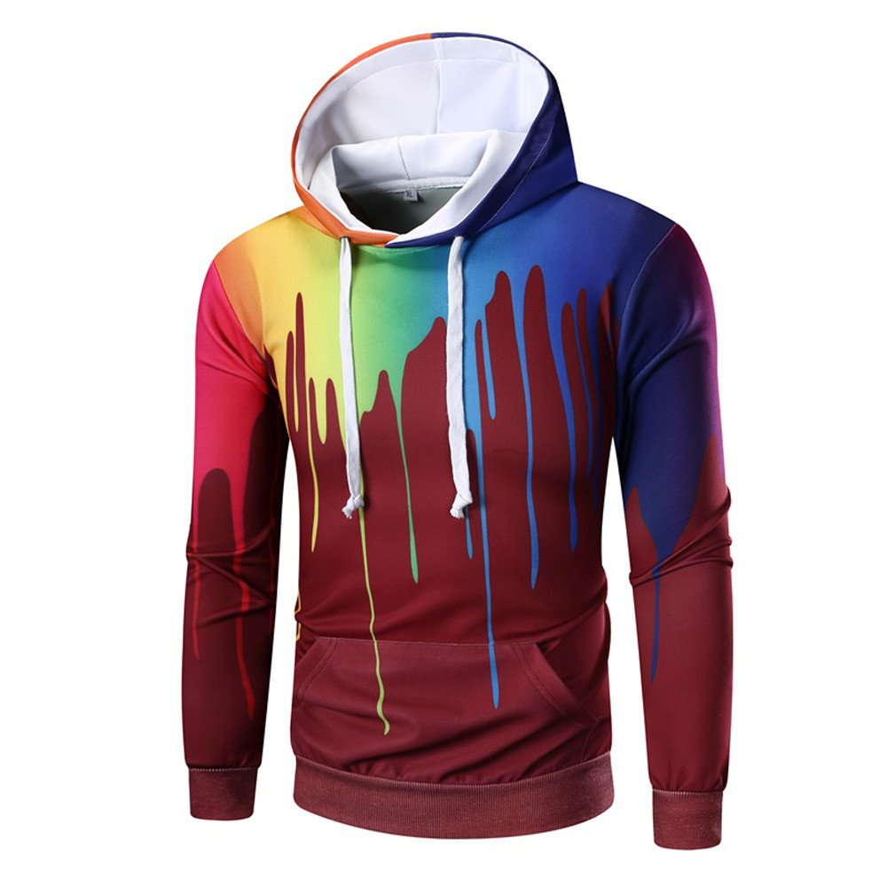 GOVOW Cotton Tops for Men on Clearance Long Sleeve Digital Print Hoodie Sweatshirt Coat Outwear(L,Red)