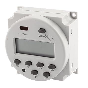 sourcingmap® AC/DC12V Relé temporizador programable gris Digital LCD Electrónica tiempo el Interruptor: Amazon.es: Bricolaje y herramientas