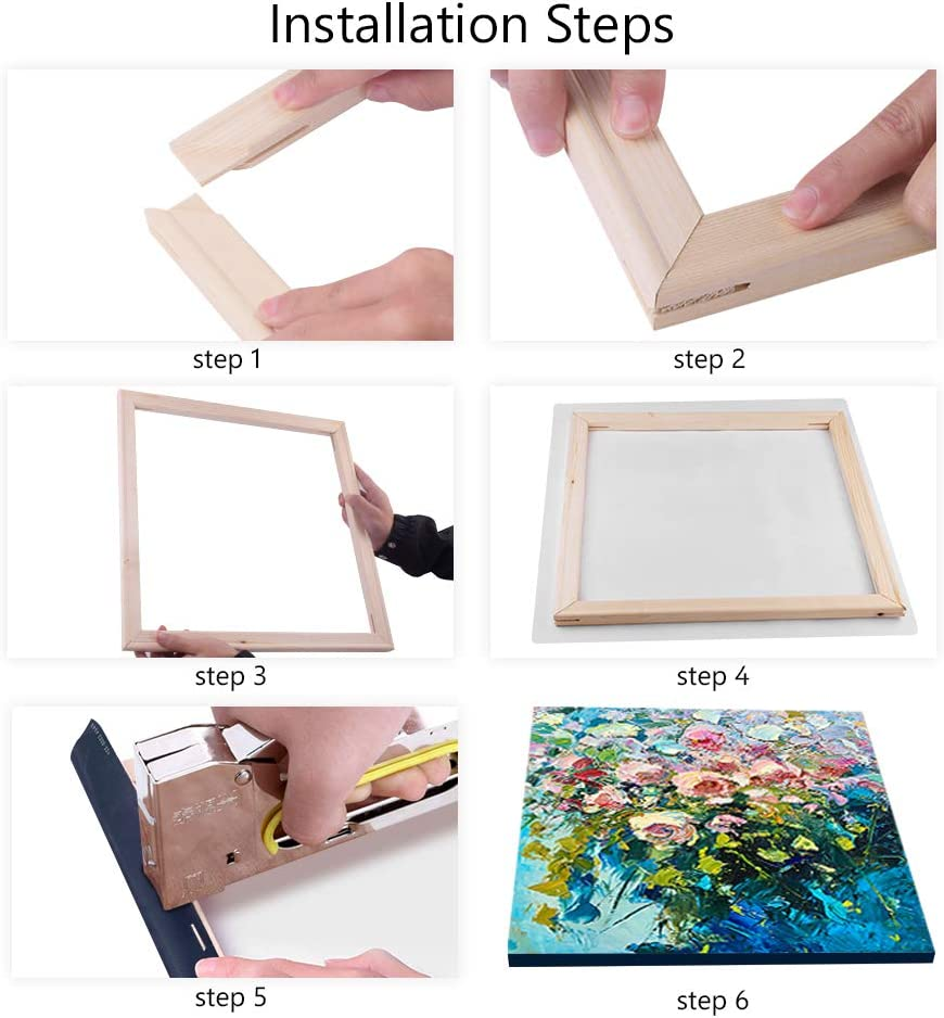 DIY Arts Accessory Materials Supply Premium Pine Wood Strips Bar Set Solid Canvas Stretcher Frames for Oil Paintings Poster Prints 24x24//60x60cm