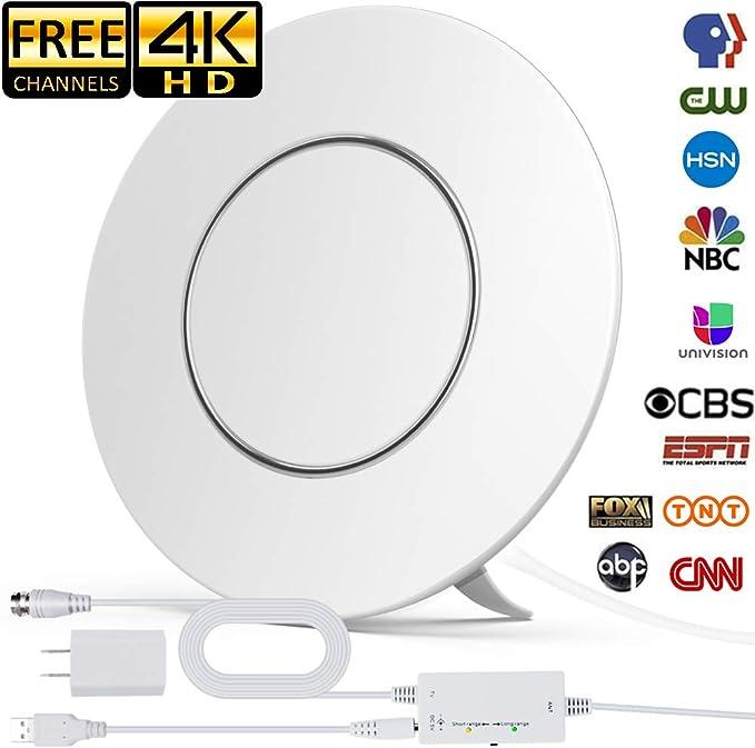 Actualizado 2020] Antena de TV digital HD amplificada para interiores, rango de 150 millas compatible con 4K 1080P y antena digital de todos los televisores con amplificador de señal de amplificador, cable