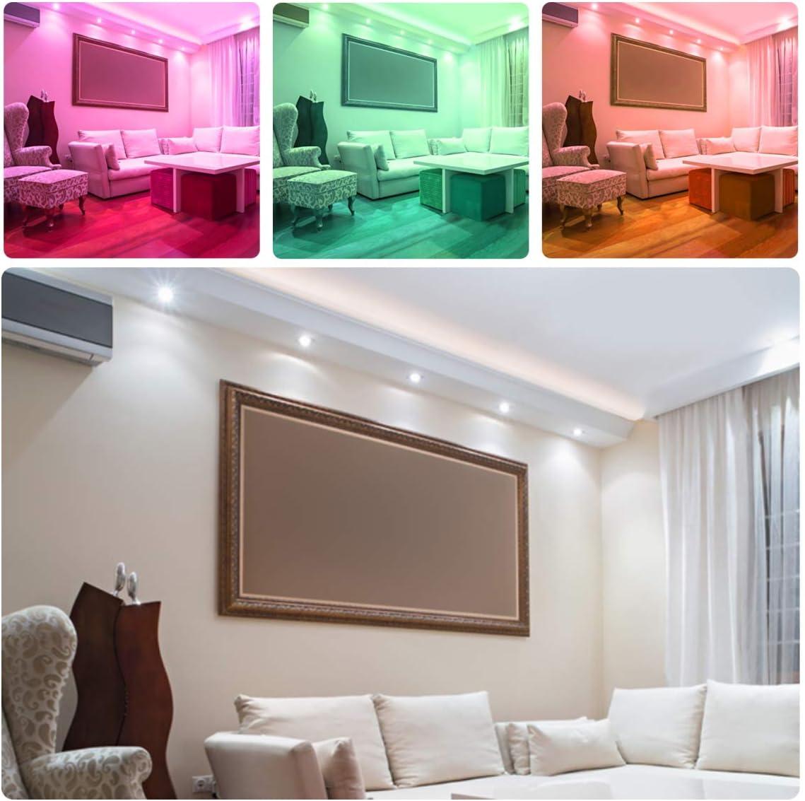 LED RGB Einbaustrahler 6 x 5W Leuchtmittel Warmweiß 2700K Deckenstrahler Deckenspots Deckenleuchte Einbauspots Deckeneinbauleuchte Deckeneinbaustrahler Cold White