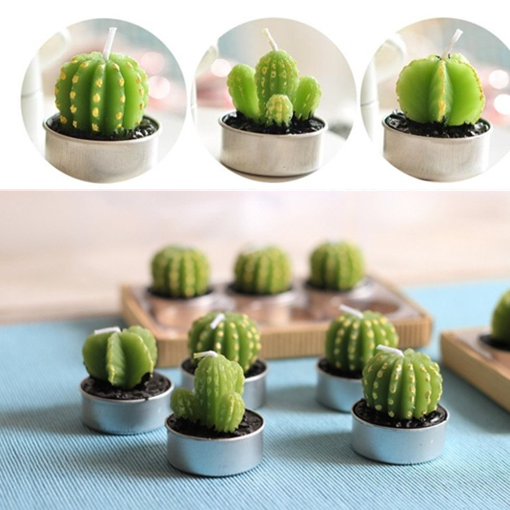 UUsave 12 Pcs Cactus Tealight Candles Decor Handmade Delicate Succulent Cactus Candles for Valentine's day Birthday Party Wedding Spa Living Room Home Decoration (12) by UUsave (Image #2)