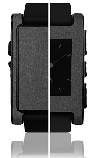 Skinomi Brushed Steel Full Body Skin Compatible with Pebble E-Paper Smartwatch (Full Coverage) TechSkin with Anti-Bubble Clear Film Screen Protector