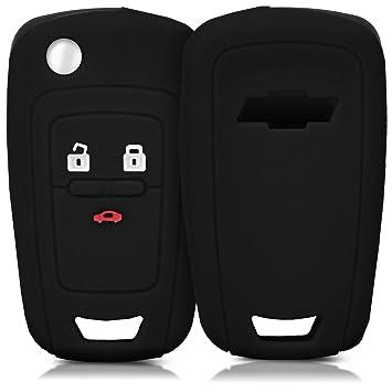 kwmobile Funda de Silicona para Llave de 2-3 Botones para Coche Chevrolet - Carcasa Protectora [Suave] de [Silicona] - Case Mando de Auto [Negro]