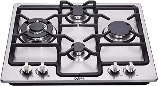 Deli-Kit DK245-A04 24 inch gas cooktop gas hob stovetop 4 burners LPG//NG Dual Fuel 4 Sealed Burners Stainless Steel Built-In gas hob 110V AC pulse ignition gas cooktop gas stove