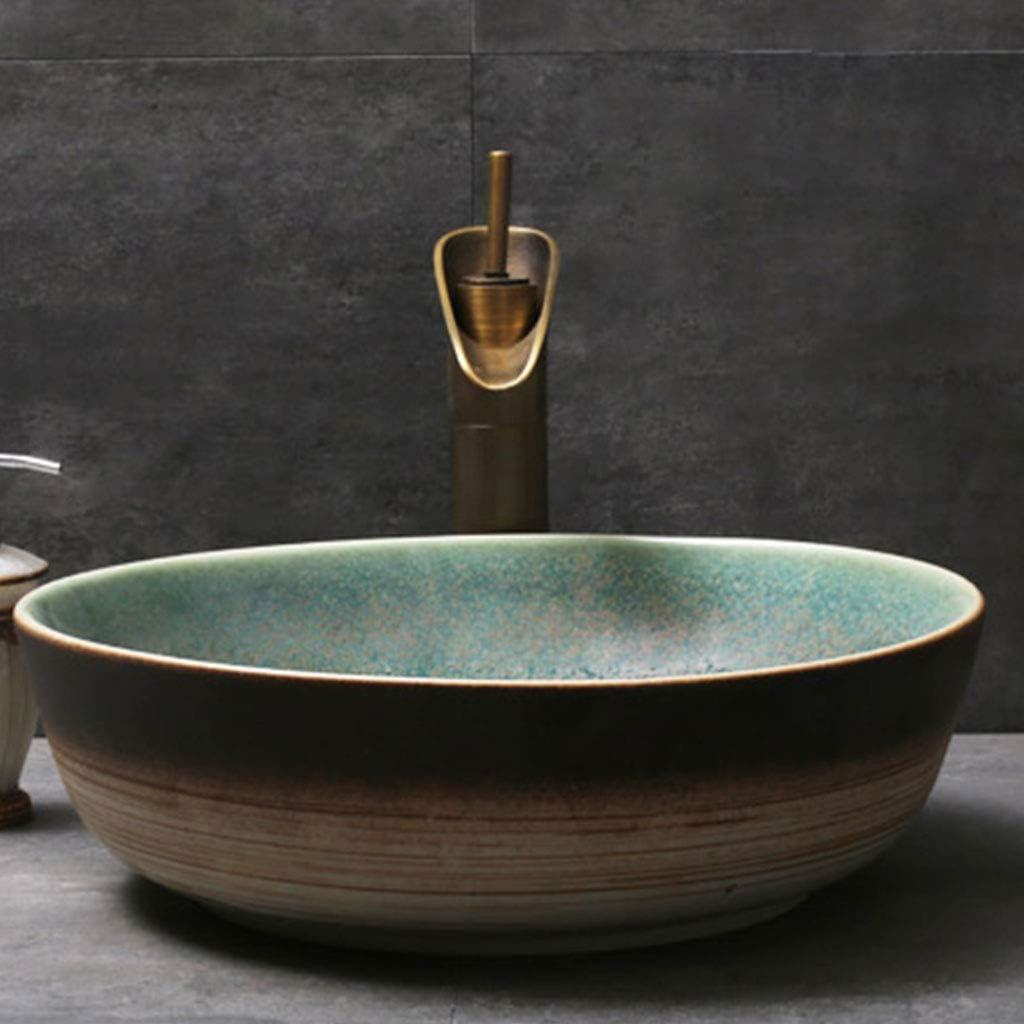 Retro personalit/à Lavabo del bagno Lavello rotondo ceramica lavabo a prova di spruzzi darte contenitore Lavabi