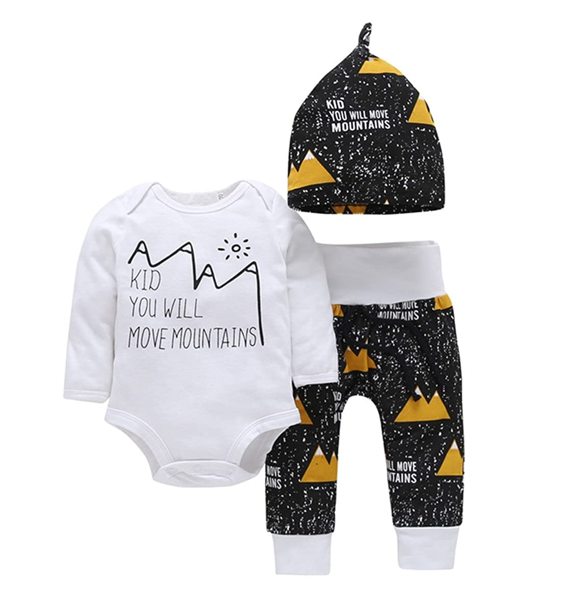 Newborn Baby Boys Girls Mountains Funny Bodysuits Cotton Pants Hat 3pcs Outfits Set