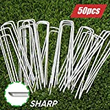 6 Inch Garden Stakes Galvanized Landscape Staples, U-Type Turf Staples for Artificial Grass, Rust Proof Sod Pins Stakes…