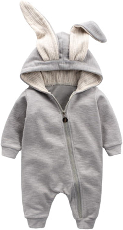 Autumn Winter Baby Rompers Cute Cartoon Rabbit Infant Girl Boy 3D Ear Zipper Hooded Jumpers