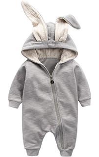 50946838fe1 Winter Warm Baby Boys Girls Rabbit 3D Ear Zipper Hooded Romper Jumpsuit  Outfits