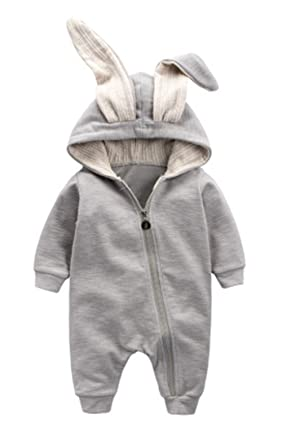 a692c4eb1a83 Winter Warm Baby Boys Girls Rabbit 3D Ear Zipper Hooded Romper Jumpsuit  Outfits Size 0-