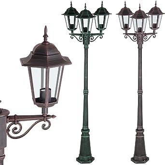 Lampadaire d'extérieur bronzecuivre 226cm alu moulé réverbère lampe jardin lumière extérieure luminaire candélabre chemin allée forme lanterne
