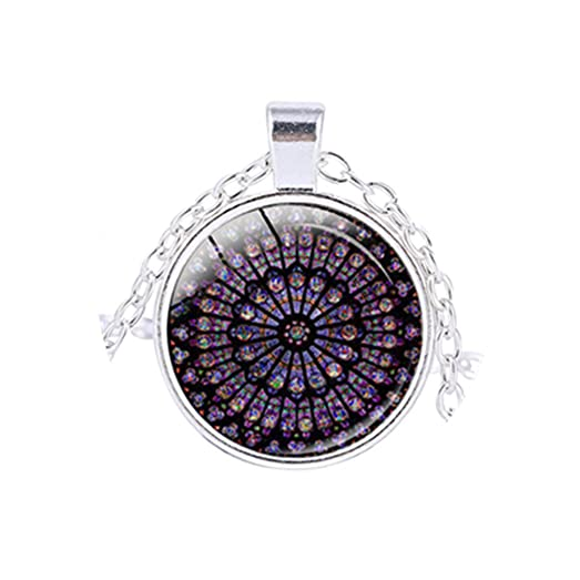 Amazon rose window stained glass notre dame de paris rose window stained glass notre dame de paris cathedral pendant necklace silver aloadofball Images
