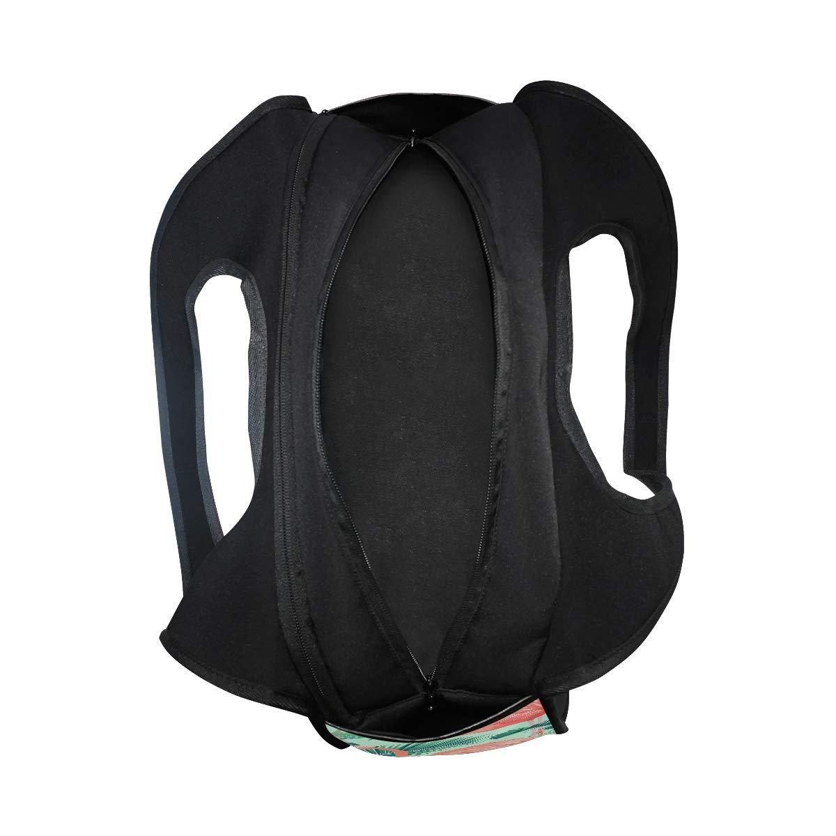 Flamingo Birds And Tropical Leaves Women Sports Gym Totes Bag Multi-Function Nylon Travel Shoulder Bag