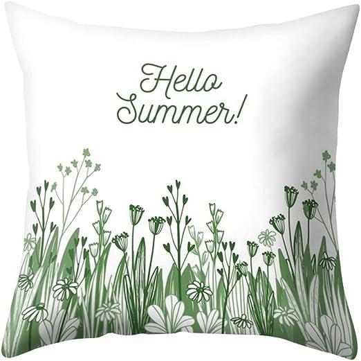 Hello Summer Print Pillow Case Polyester Sofa Car Cushion Cover Home Decor