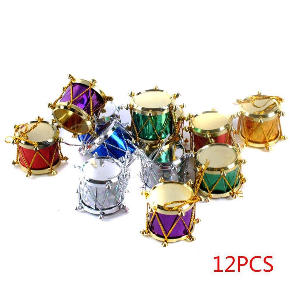 Royalr 6//12pcs Christmas Tree Ornament Snare Drum Tree Hanging Ornaments Xmas Decor