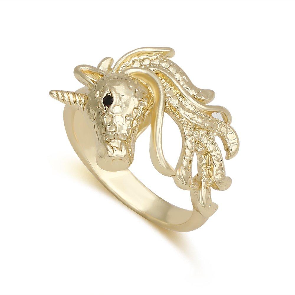 TUSHUO Simple Unicorn Ring Unicorn Head Ring Unicorn Jewelry Pretty Gift for Anyone B078WLBRWJ_US