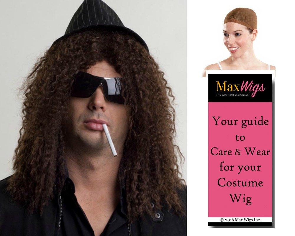 Rockstar Slash Color Dark Brown - Enigma Wigs Guns Roses Curly Men's Hard Rock Metal Bundle with Wig Cap, MaxWigs Costume Wig Care Guide