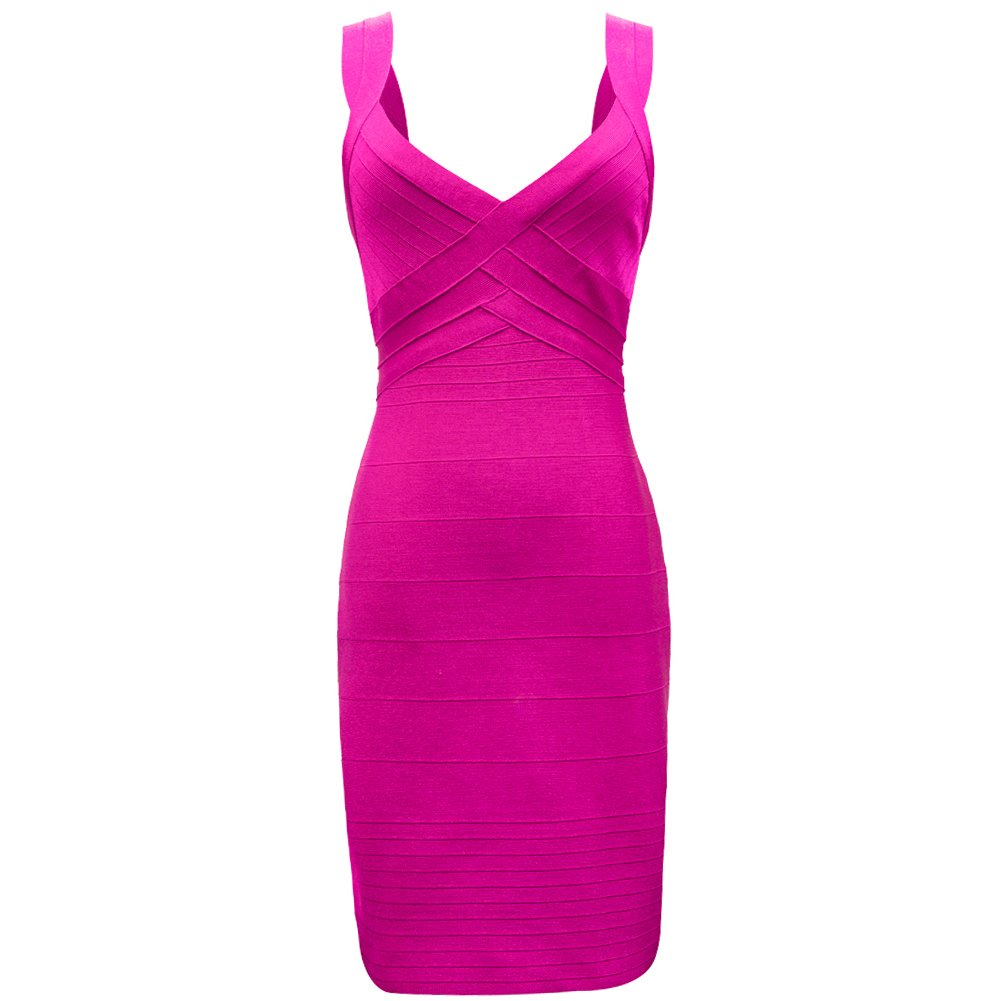 VTIMES Women's Sexy Strap Vneck Clubwear Evening Party Bandage Dress Dress Rose Red Size L
