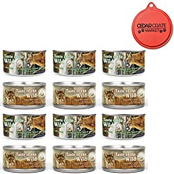 Taste of the Wild Cat Food Variety Pack with Can Topper - 3 Ounces - 2 Flavors - Rocky Mountain Feline with Salmon & Roasted Venison Formula and Canyon River Feline Trout & Salmon Formula (12 Pack)