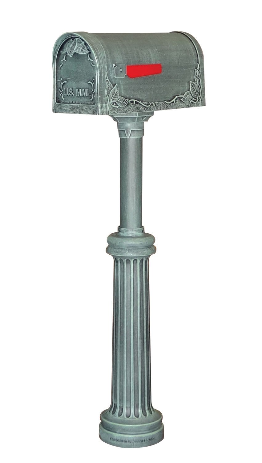 Special Lite Floral Curbside Mailbox with Bradford Surface Mount Mailbox Post - Verde Green