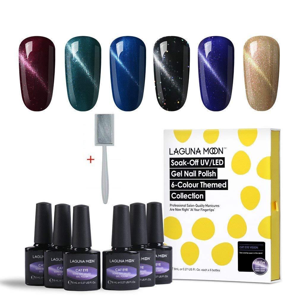 Lagunamoon Gel Nail Colours Soak Off UV LED 3D Magnetic Cat Eye Gel Nail Polish Nail Varnish Manicure Lacquer Set 6PCS GP08