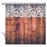 Barn Wood And Lace Banners Mildew Proof and Waterproof Washable Printed Polyester Fabric Shower Curtain for Bathroom,and Hooks