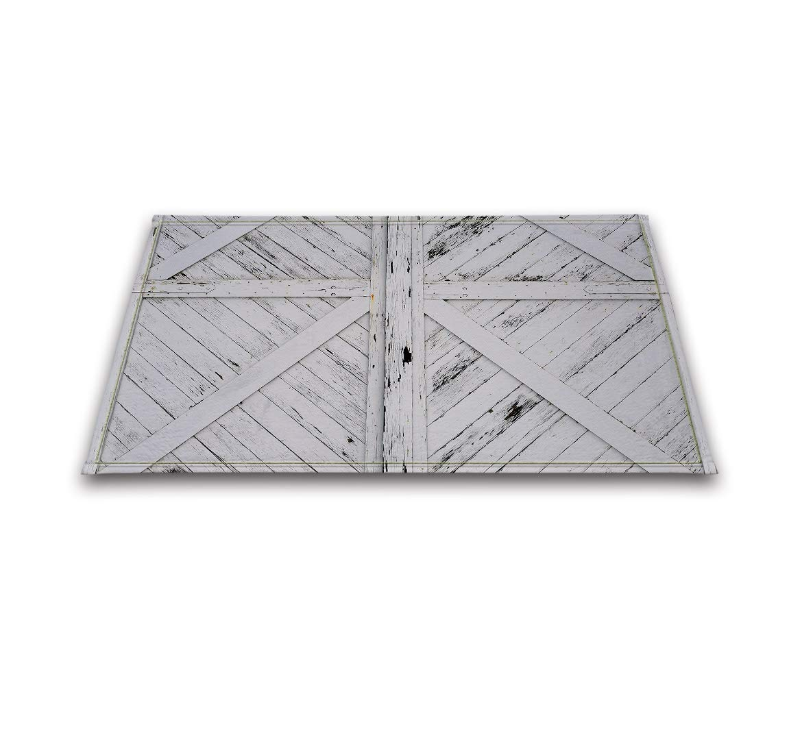 LB Rustic Barn Door White Painted Barn Wood Decor Rugs for Bathroom Bedroom, Anti Skip Rubber Backing Comfortable Soft Surface, Western Country Theme Decorative Rug 15 x 23 Inches