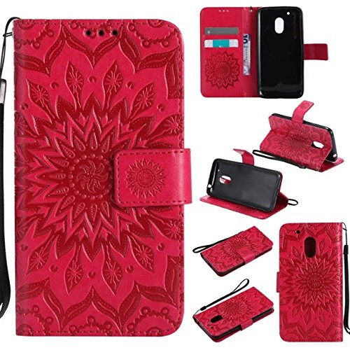 Price comparison product image Moto G4 Play Wallet Case, A-slim(TM) Beauty Fashion Sun Pattern Embossed PU Leather Magnetic Flip Cover Card Holders & Hand Strap Wallet Purse Cover Case for Motorola Moto G Play / G4 Play - Red