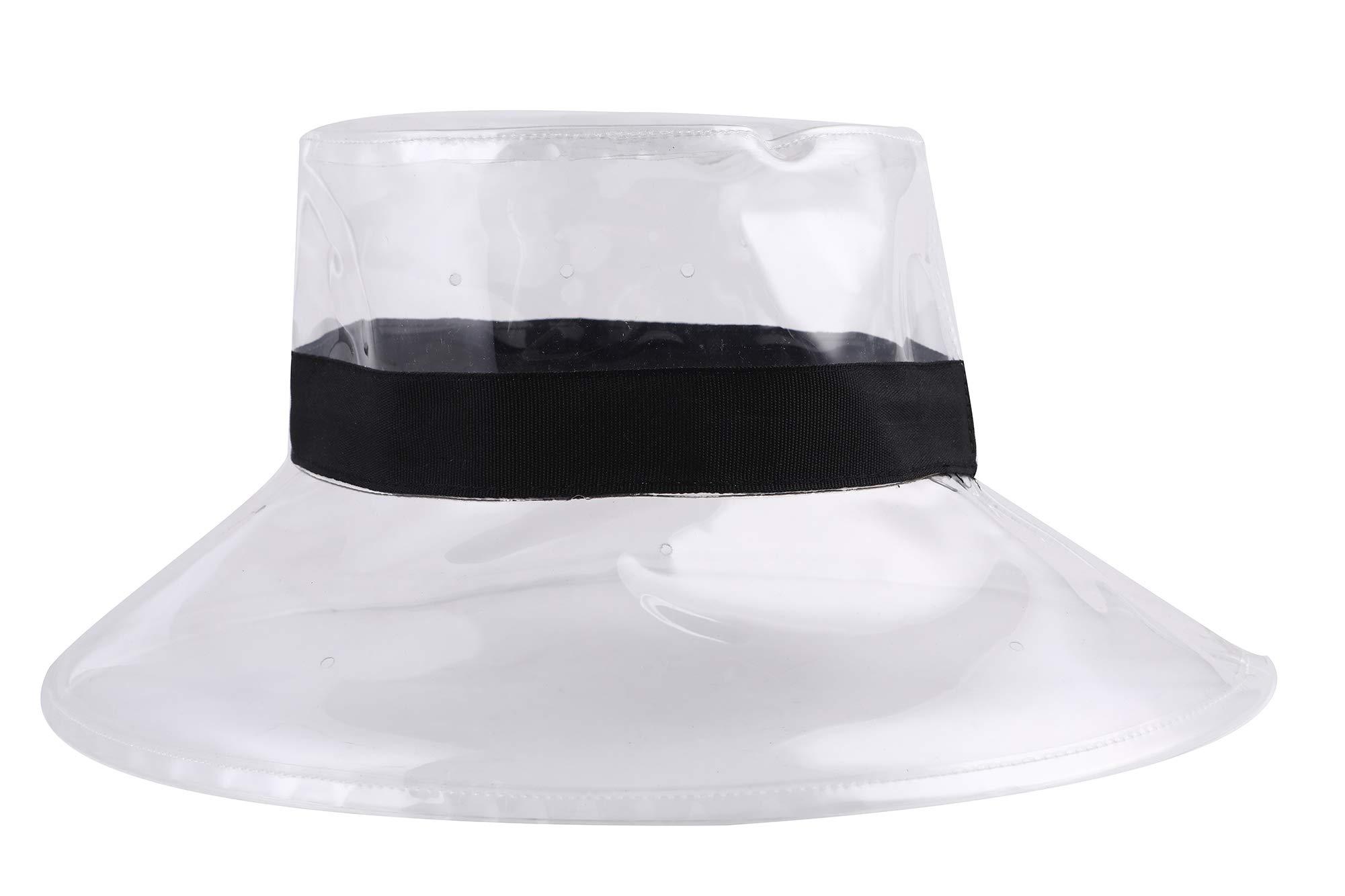 ZLYC Fashion Environmental Protection PVC Wide Brim Bucket Hats Waterproof Rain Hats (White)