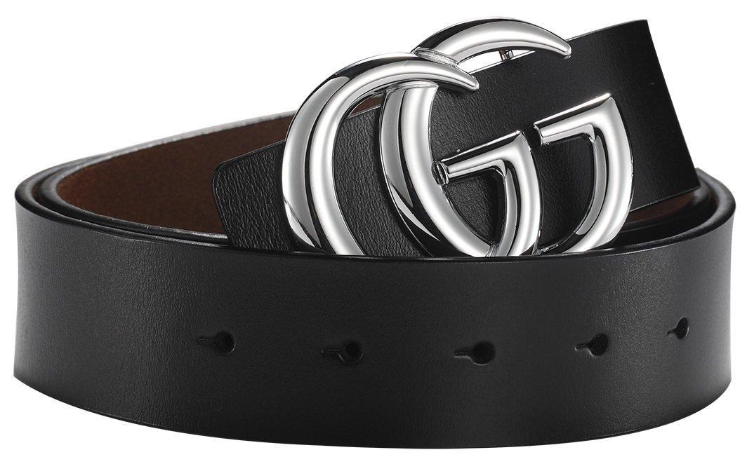 G-Style Silver Buckle Unisex Mens Womens Fashion Belt ~ 3.8cm Belt Width (100cm (Waist 29''~35'' or Below), Black)