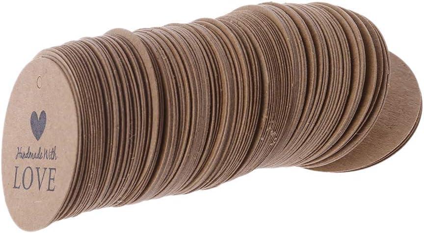 Wanghuaner 100 pcs Arriv/ée Kraft Rond /Étiquettes volantes Etiquettes De Faveur De Mariage Cartes-cadeaux