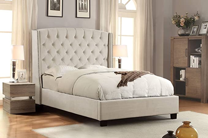 Amazon.com: Diamond Furniture MAJESTICQUBEDTN Majestic Queen Tufted Bed in Tan Velvet with Nail Head Wing Accents: Kitchen & Dining