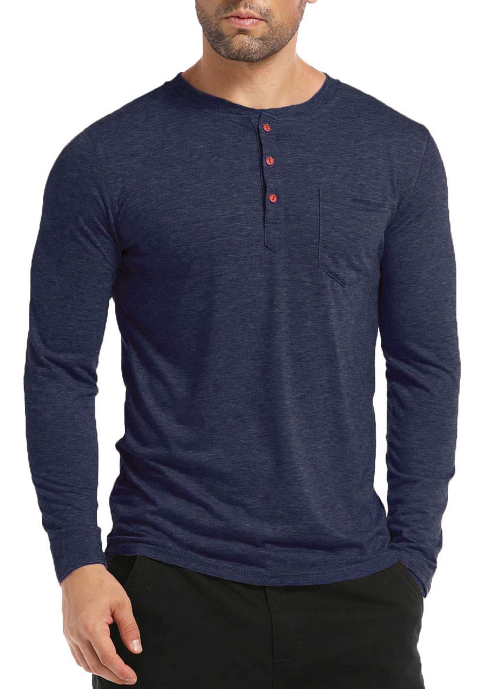 BABEIYXM Men's Henley Long Sleeve Shirts Soild Tee Shirts Front Pocket Tops Basic T-Shirts,Navy Blue,L
