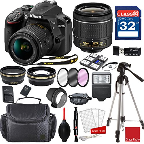 - Nikon D3400 DX-format Digital SLR w/AF-P DX NIKKOR 18-55mm f/3.5-5.6G VR Lens + Professional Accessory Bundle
