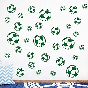 JUEKUI Set of 37pcs Soccer Ball Sticker Vinyl Wall Decals for Kids Rooms Bedroom Soccer Fans Home Decor 5 inch 4 inch 3 inch 2 inch WS28 (Forest Green)