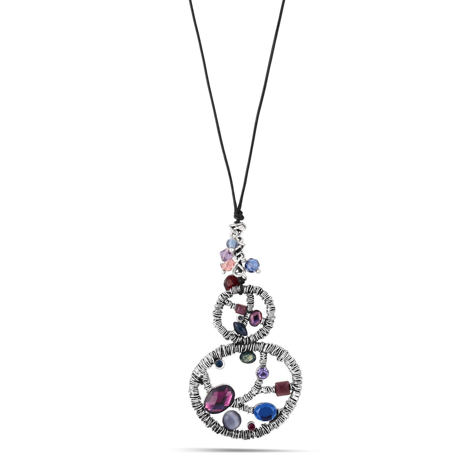 Silver-Tone Metal Multicolor Crystal Black Leather Chain Necklace