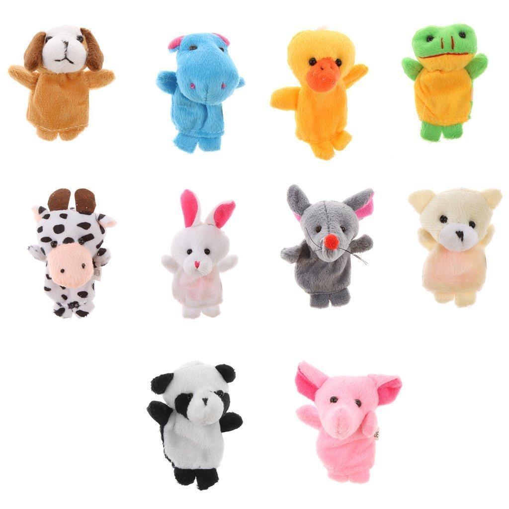Kcopo Baby Fingerpuppen Set Tier Fingerpuppen Weiches Plüsch Handspielpuppen Tiere Finger Spielzeug Puppen Spielzeug Props Für Kinder 10 Stück