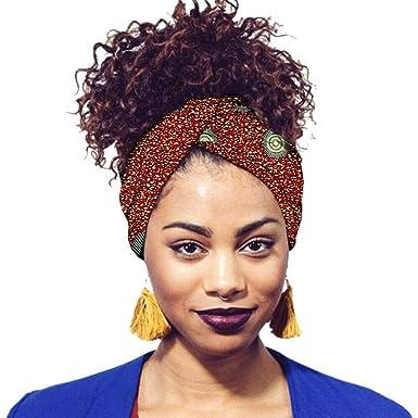 pas cher aspect esthétique conception populaire Xinvivion Tête Echarpe Femme multi-usages Turbans Foulard en Coton avec  Fabuleux Africaine Impression Element Headwraps