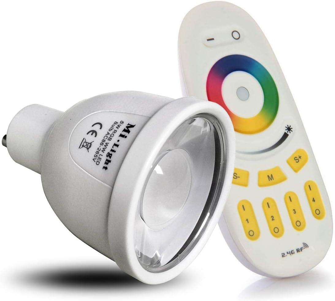 1 x WiFi lampada LED RGB di colore originale Mi-light /® 5 Watt bianco caldo GU10 dimmerabile con telecomando Controllo colore cambia lampadina LIGHTEU