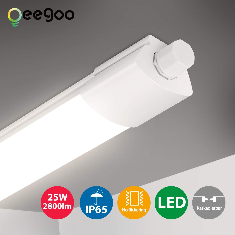 25W 120CM LED Feuchtraumleuchte Röhre Keller Garage Deckenlampe Wannenleuchte