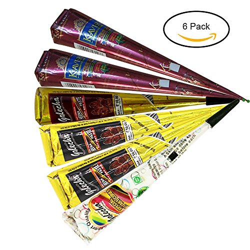 ESH7 6Pcs Temporary Tattoo Black Brown Red White Paste Cone for Art Drawing DIY with Free Tattoo Stencil - Henna Cones