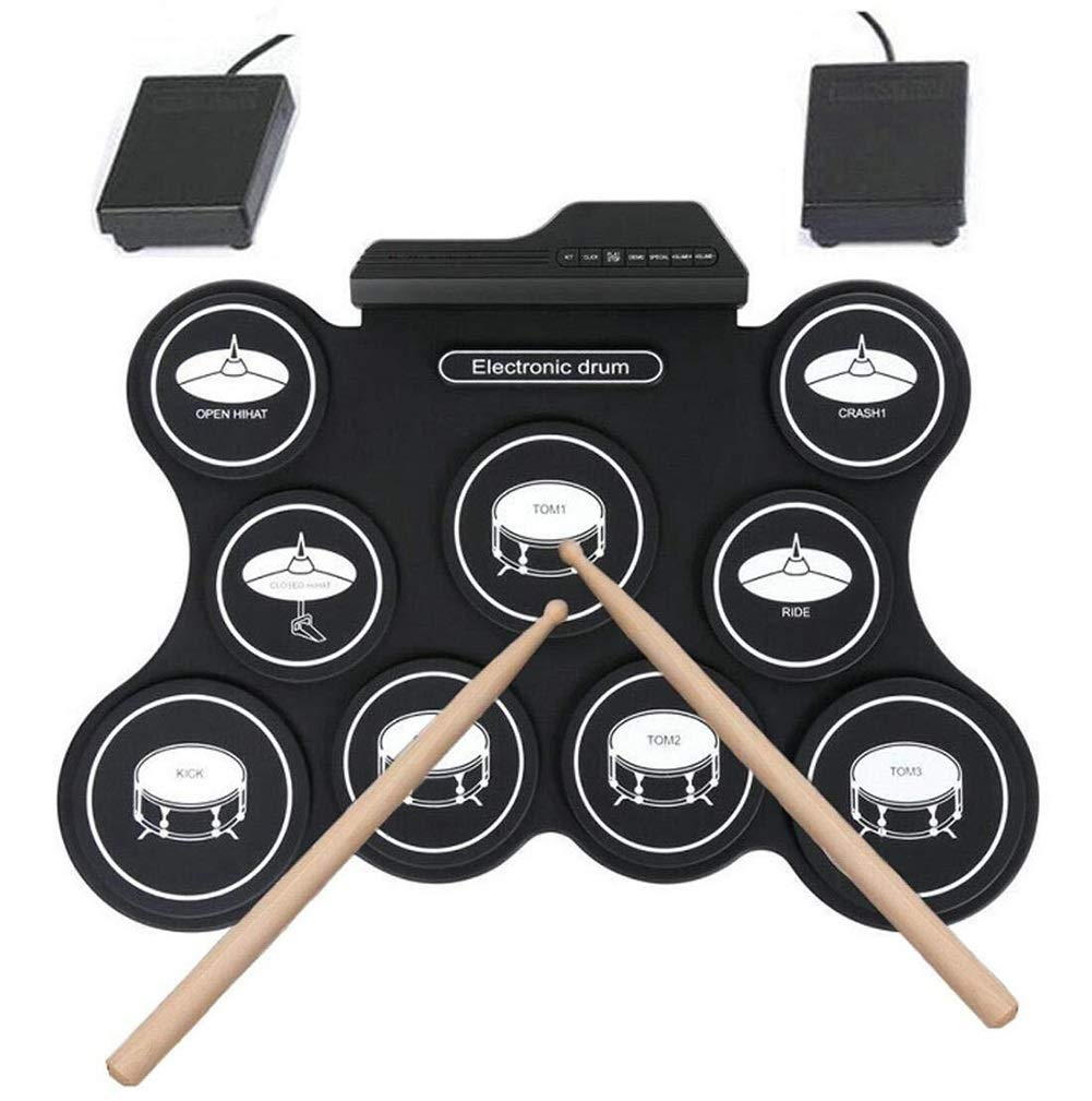 Electronic drum Set,Portable Drum, 9 Pads Portable USB G4009 Electronic Roll Up Drum Pad Kits Foldable Practice Instrument with