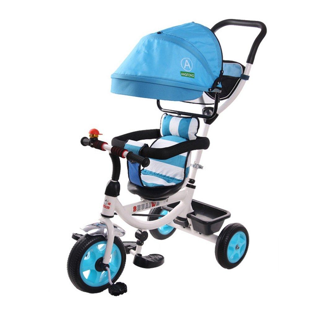 4-in-1 Sports Edition Trike für Kinder, Multifunktionale Kinder Dreirad Kid Trolley mit Anti-UV-Markise und Eltern Griff für 1-3-6 Jahre alt Boy und Girl Baby Vibrant Blau Bike