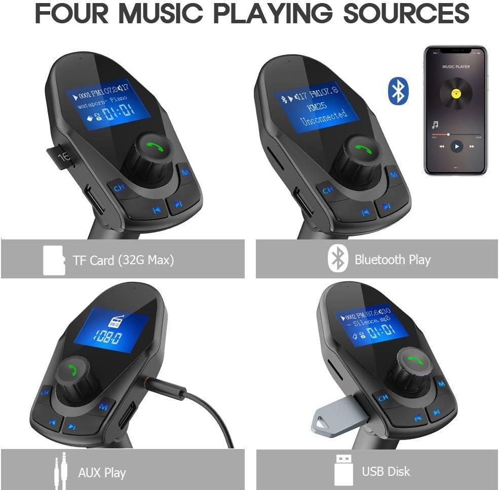 KM25 Black 4352716330 Nulaxy Bluetooth FM Transmitter Wireless Audio Adapter Receiver with Bluetooth 4.2 Handsfree Voltmeter Car Kit TF Card AUX USB 1.44 Display Folder Play Mode
