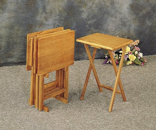 Coaster Set of Four Foldable Dinner Tray Tables In Oak Finish With Storage Stand