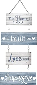 Home Sign This Home is Built on Love and Shenanigans Hanging Home Wall Sign Family Rustic Wall Decor Farmhouse Decoration for Living Room Bedroom Indoor Outdoor
