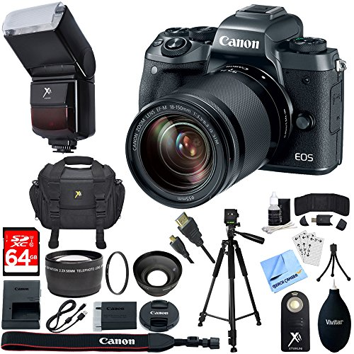 Canon EOS M5 Mirrorless Digital Camera Black + EF-M 18-150mm IS STM Lens Kit + 64GB SDXC Memory Card + 10 Pcs Accessory Bundle