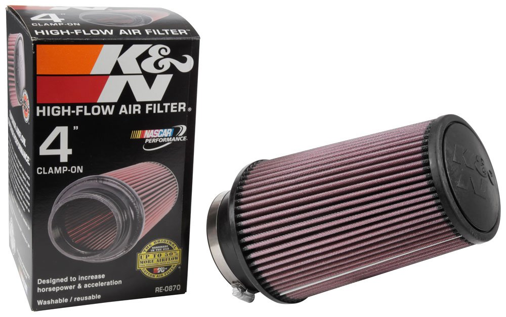 K&N RE-0870 Universal Clamp-On Air Filter: Round Tapered; 4 in (102 mm) Flange ID; 9 in (229 mm) Height; 6 in (152 mm) Base; 4.625 in (117 mm) Top K&N Engineering