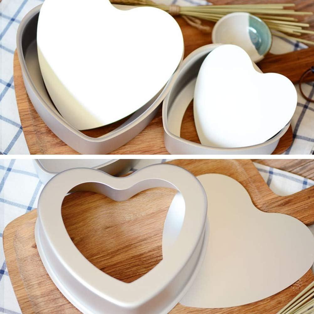 molde para cocci/ón AL Chocolate antiadherente con fondo extra/íble bestonzon Aluminio tarta con forma de Coraz/ón Pan